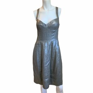 EUC Cynthia Steffe Silver Metallic Linen Dress 6